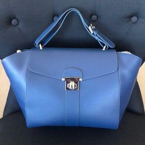 Navy blue Italian leather handbag
